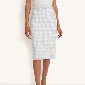 Ann Taylor Gingham Belted Pencil Skirt, NWT